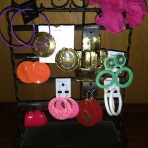 Lot of 9 pairs of Large Giant Pierced Earrings